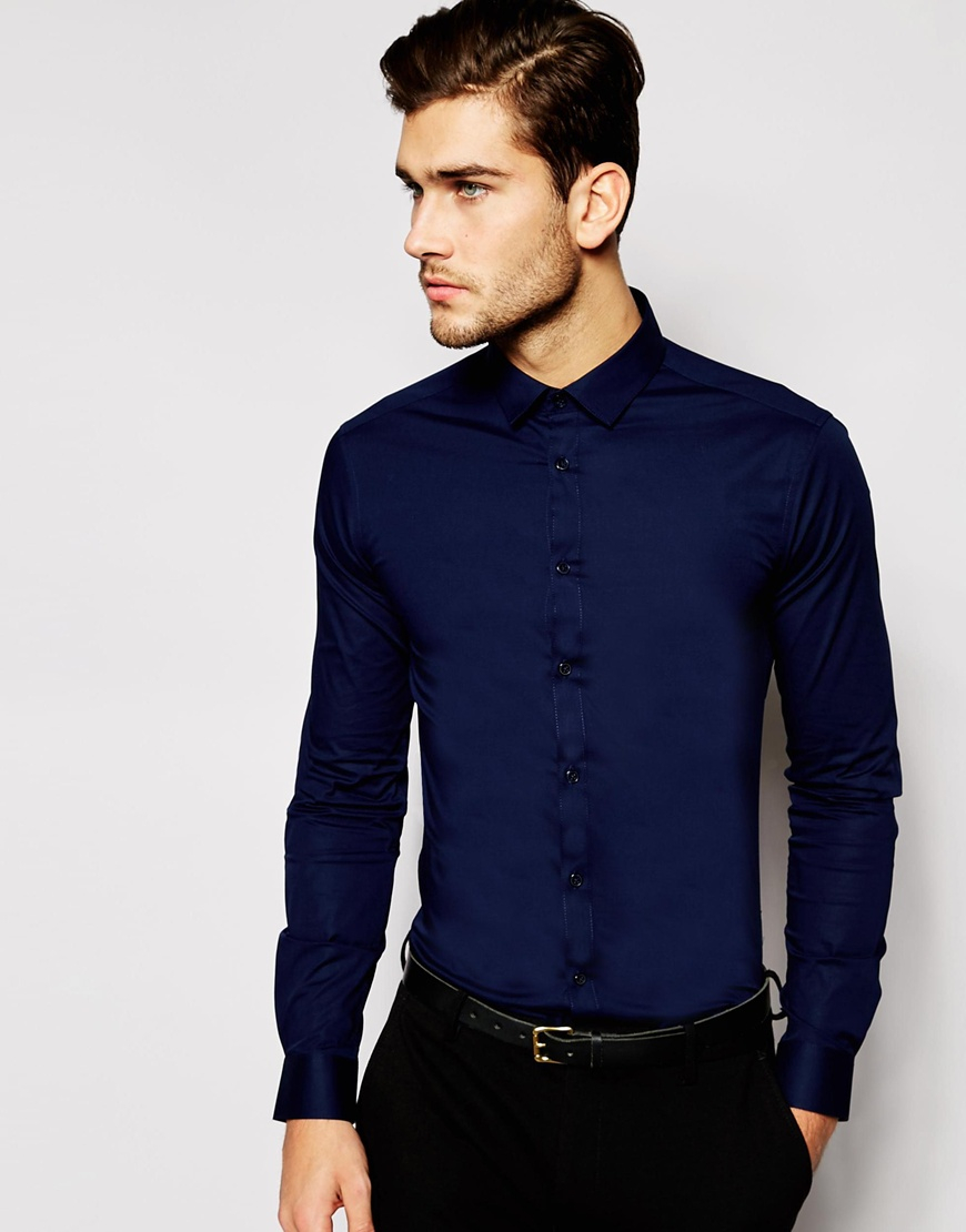 85bc72469652 Lyst - ASOS Skinny Fit Shirt In Navy With Long Sleeves in Blue for Men
