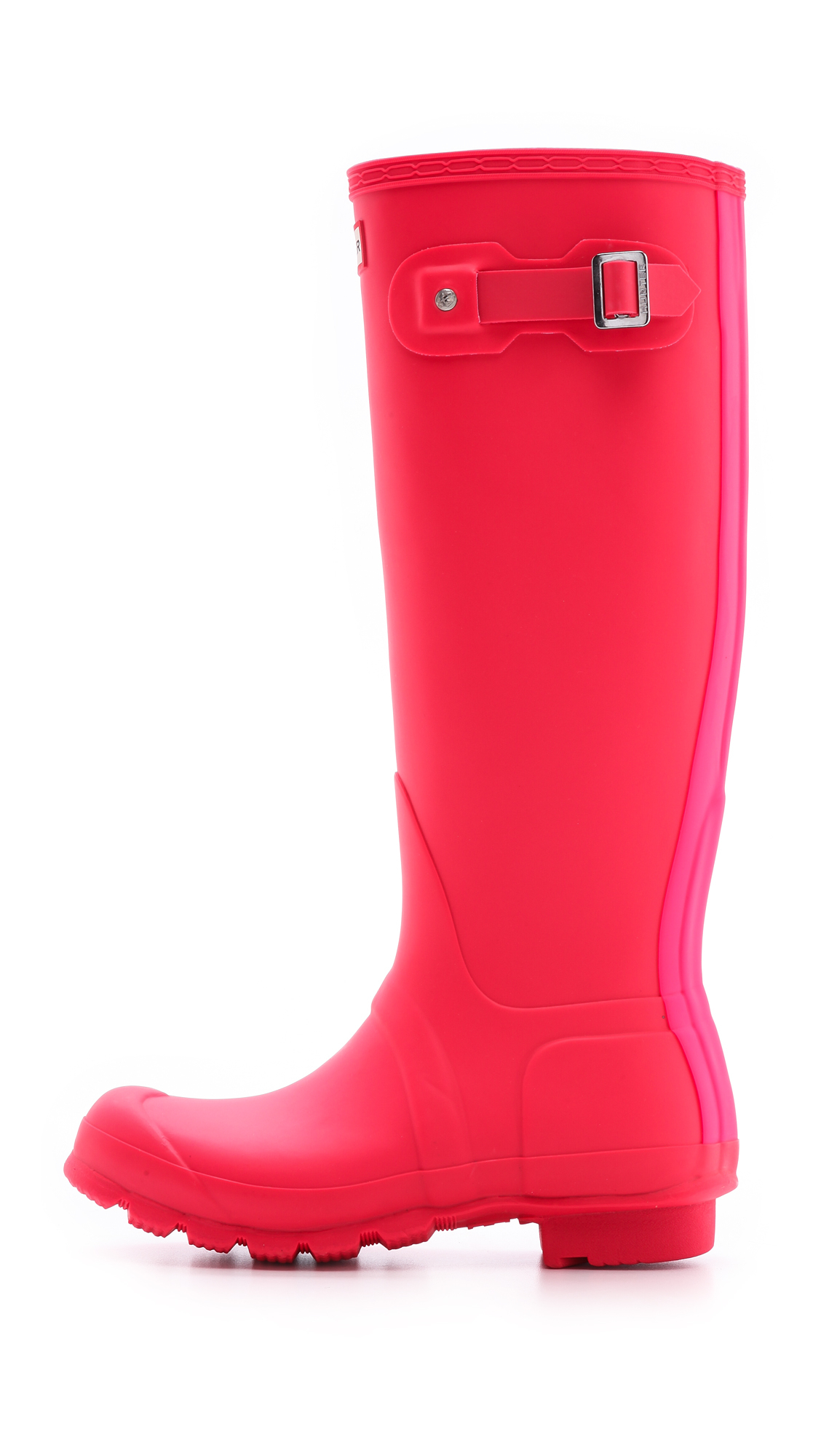 Hunter Original Stripe Tall Boots Bright Coral in Pink | Lyst