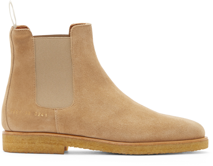 Common Projects Suede Chelsea Boots In Beige For Men TAN