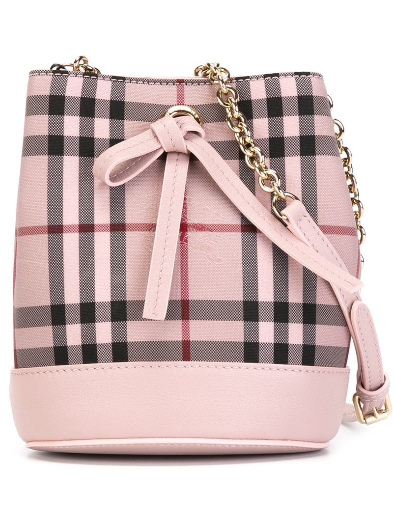 d13060c7c081 Lyst Burberry Small Check Bucket Bag In Natural. Bighit The Total Brand  Whole Burberry Sm Canter Check Tote Bag 4033954 Ash Rose Dusty Pink