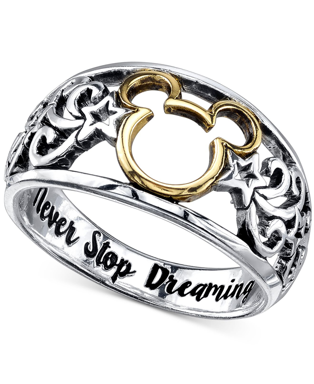 lyst disney open work mickey mouse ring in sterling