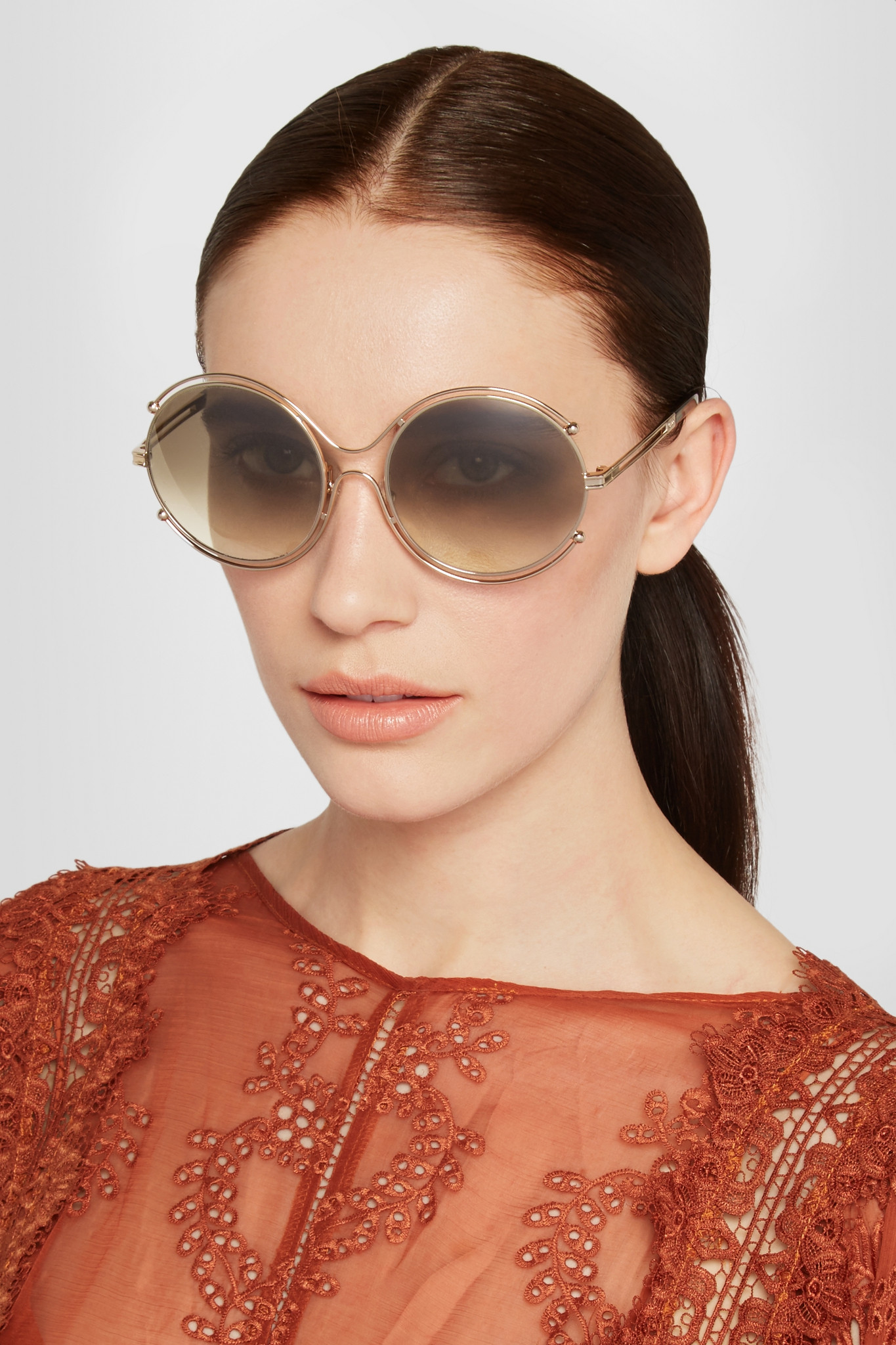 Chlo 233 Chlo 233 Isidora Round Frame Gold Tone And Acetate