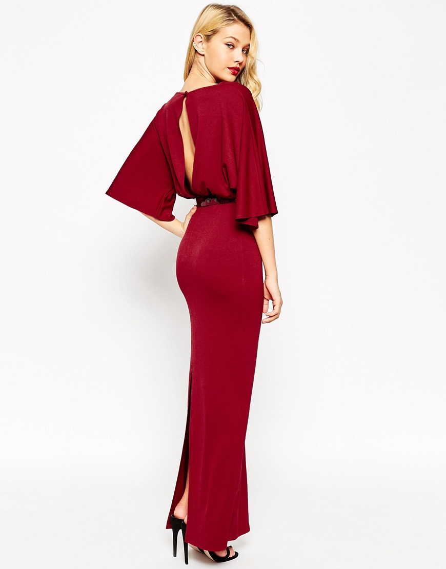 Asos Tall Kimono Maxi Dress With Belt in Red  Lyst