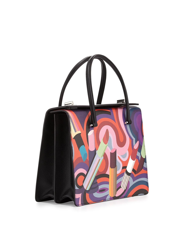 ca03ffa0cba7 Prada Lipstick-print Saffiano Tote Bag - Lyst