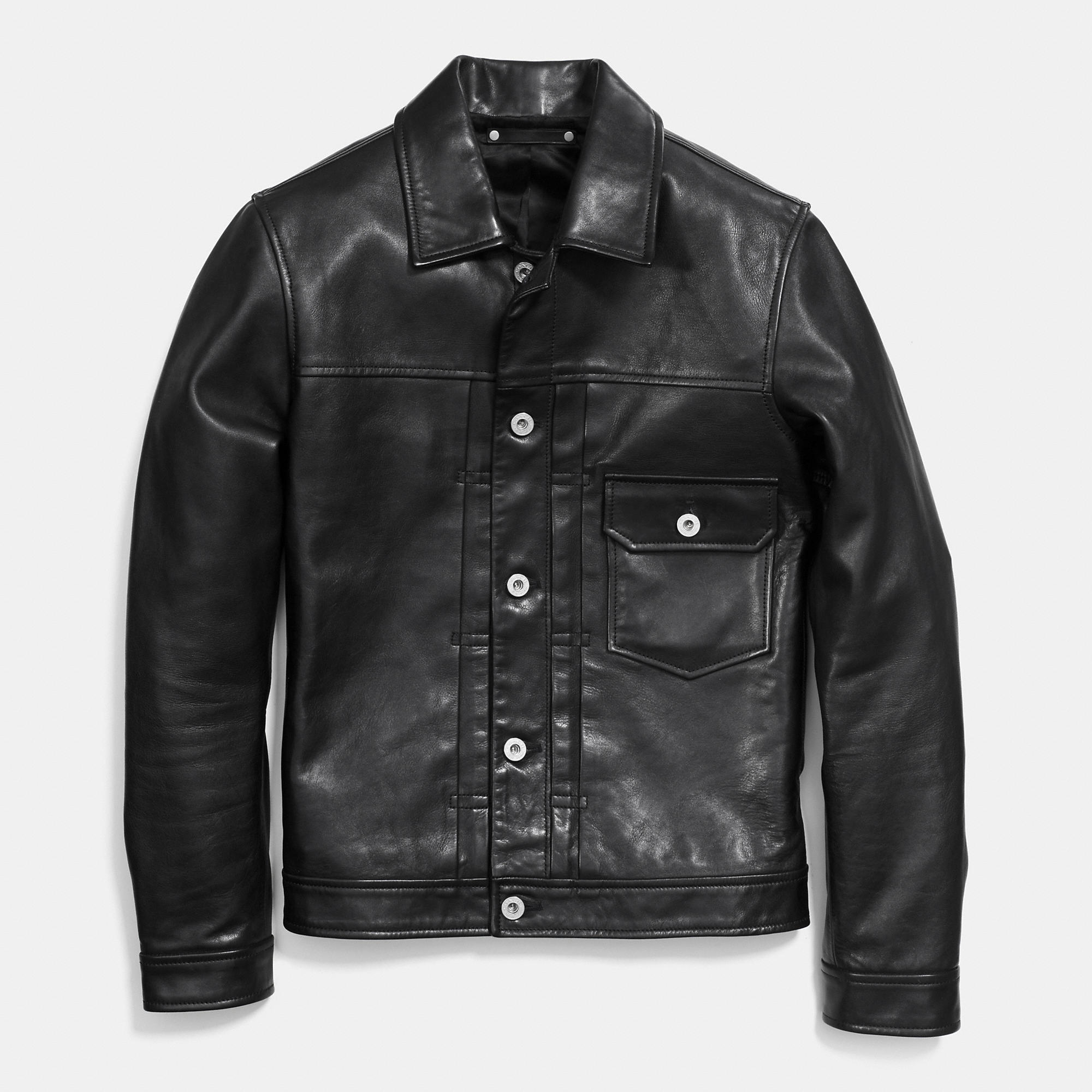 Coach Leather Jean Jacket in Black for Men | Lyst