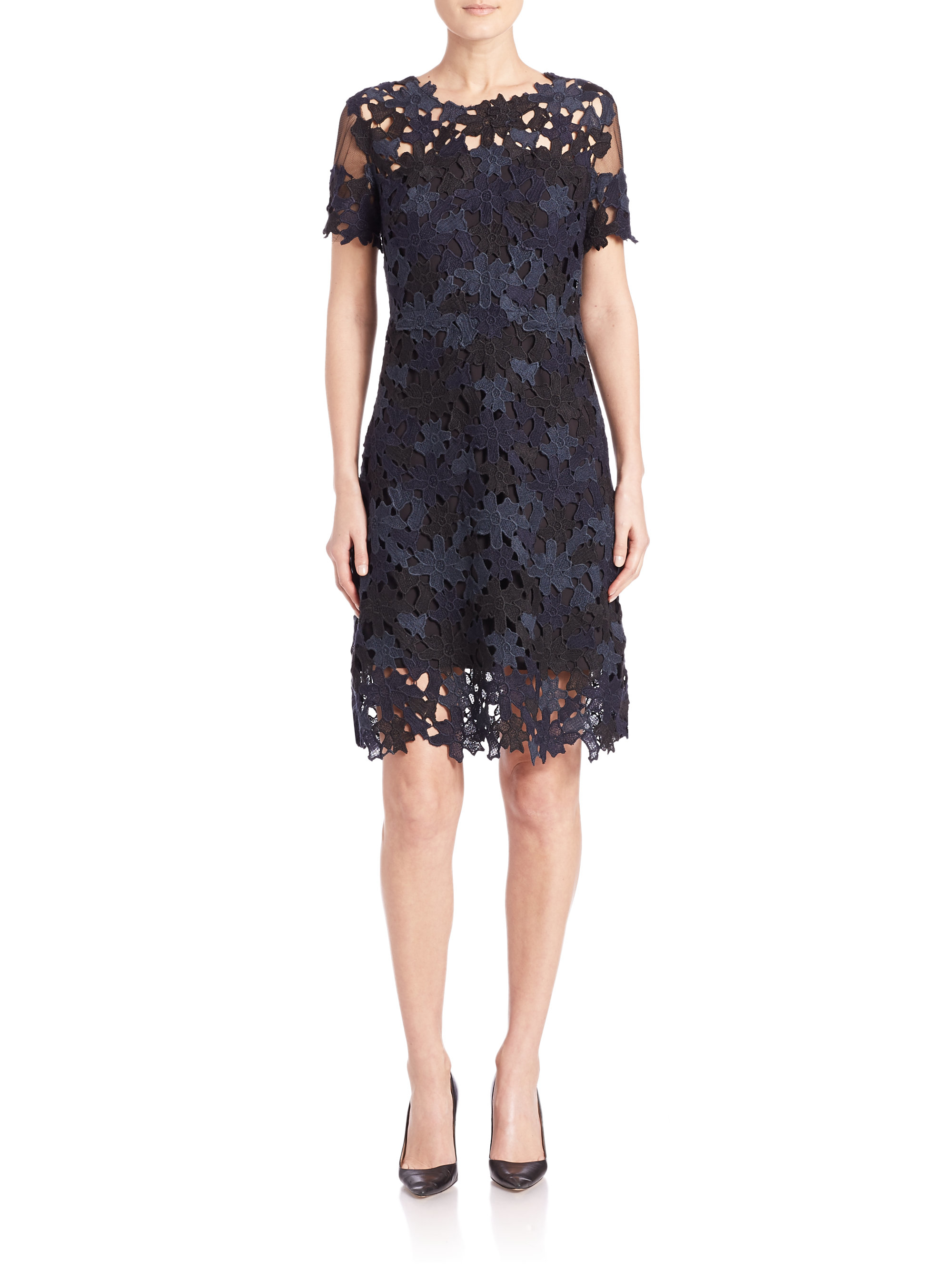 Tahari lace dress black