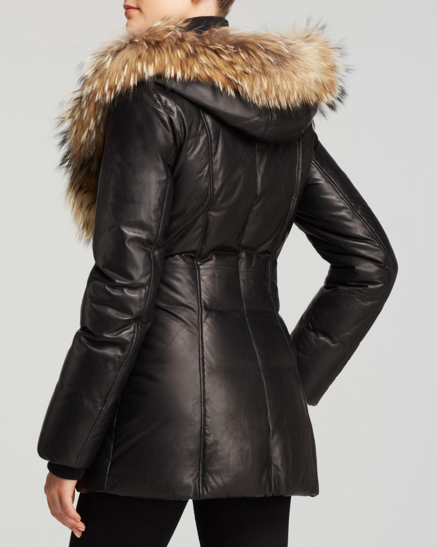 Mackage Ingrid Leather Down Coat In Black Lyst