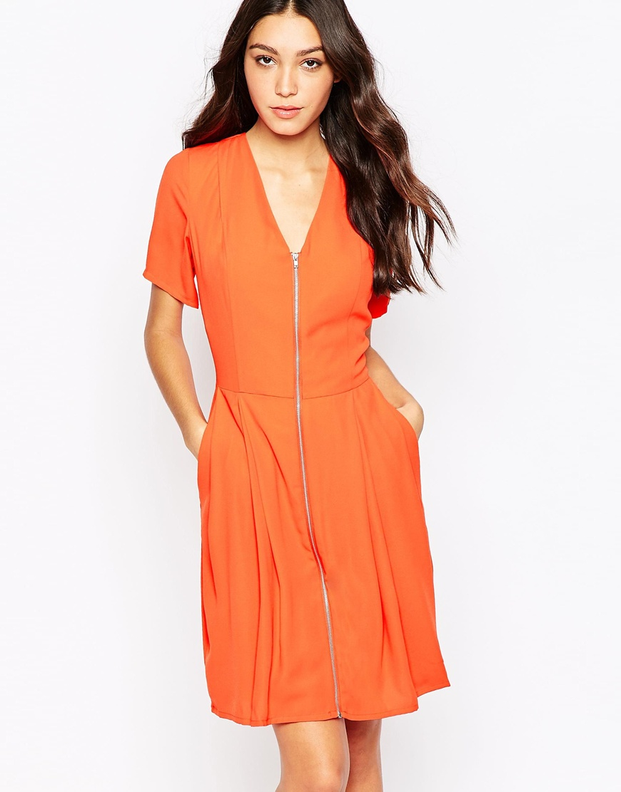 Y a s meg zip front dress in red lyst for I run for meg shirts