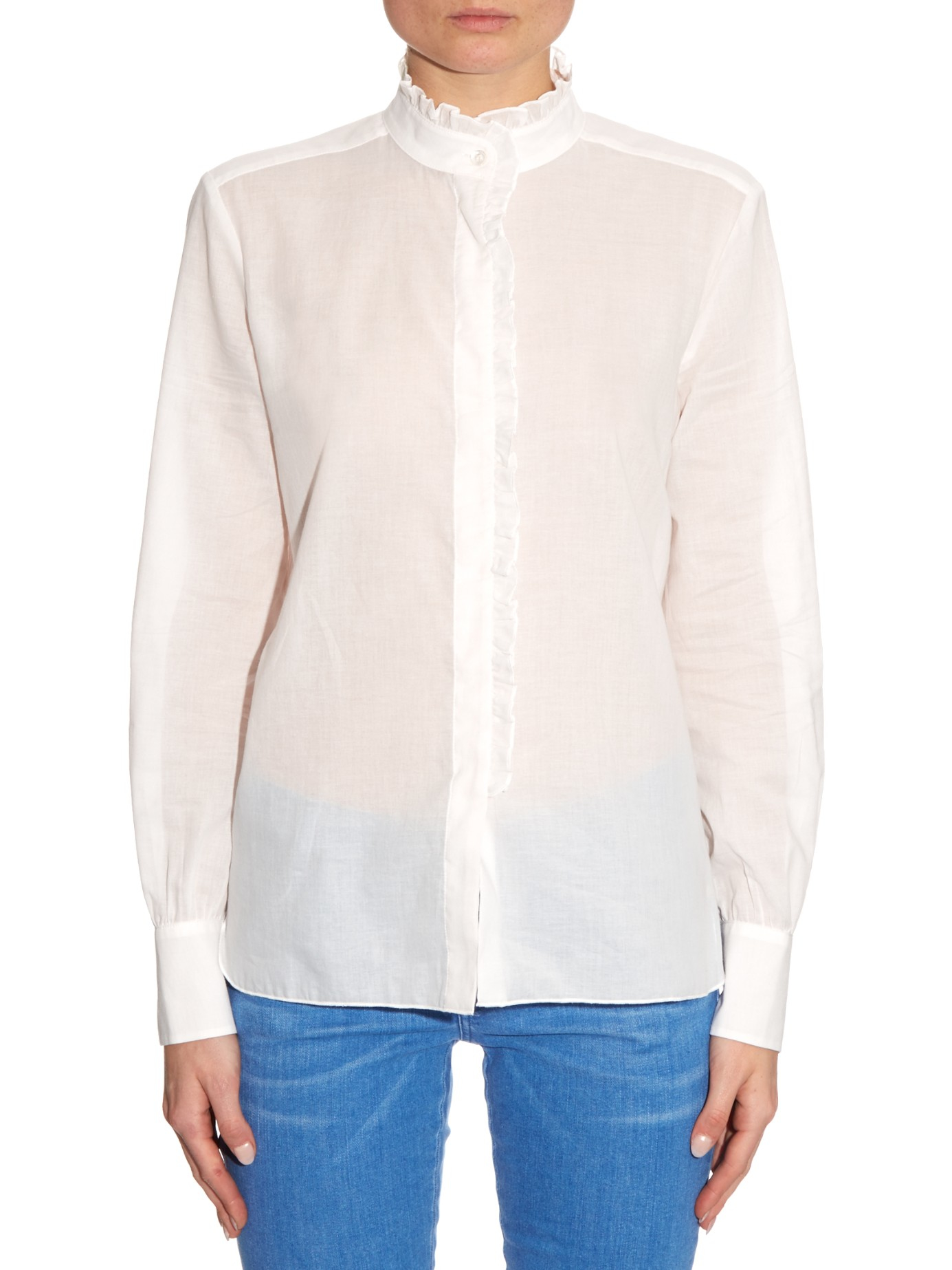 2b976f6167550c See By Chloé High-neck Ruffle-trimmed Blouse in White - Lyst