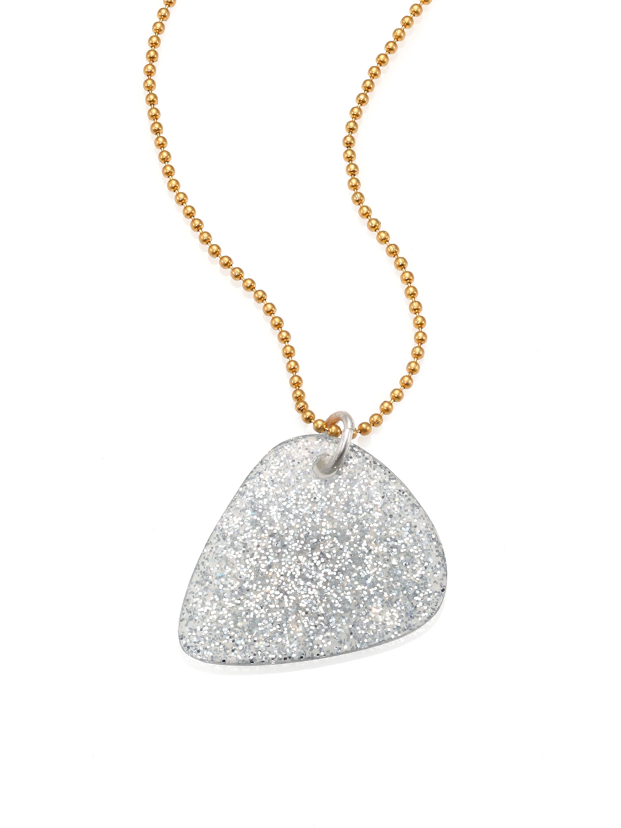 Lyst marc by marc jacobs glitter guitar pick pendant necklace in gallery aloadofball Image collections