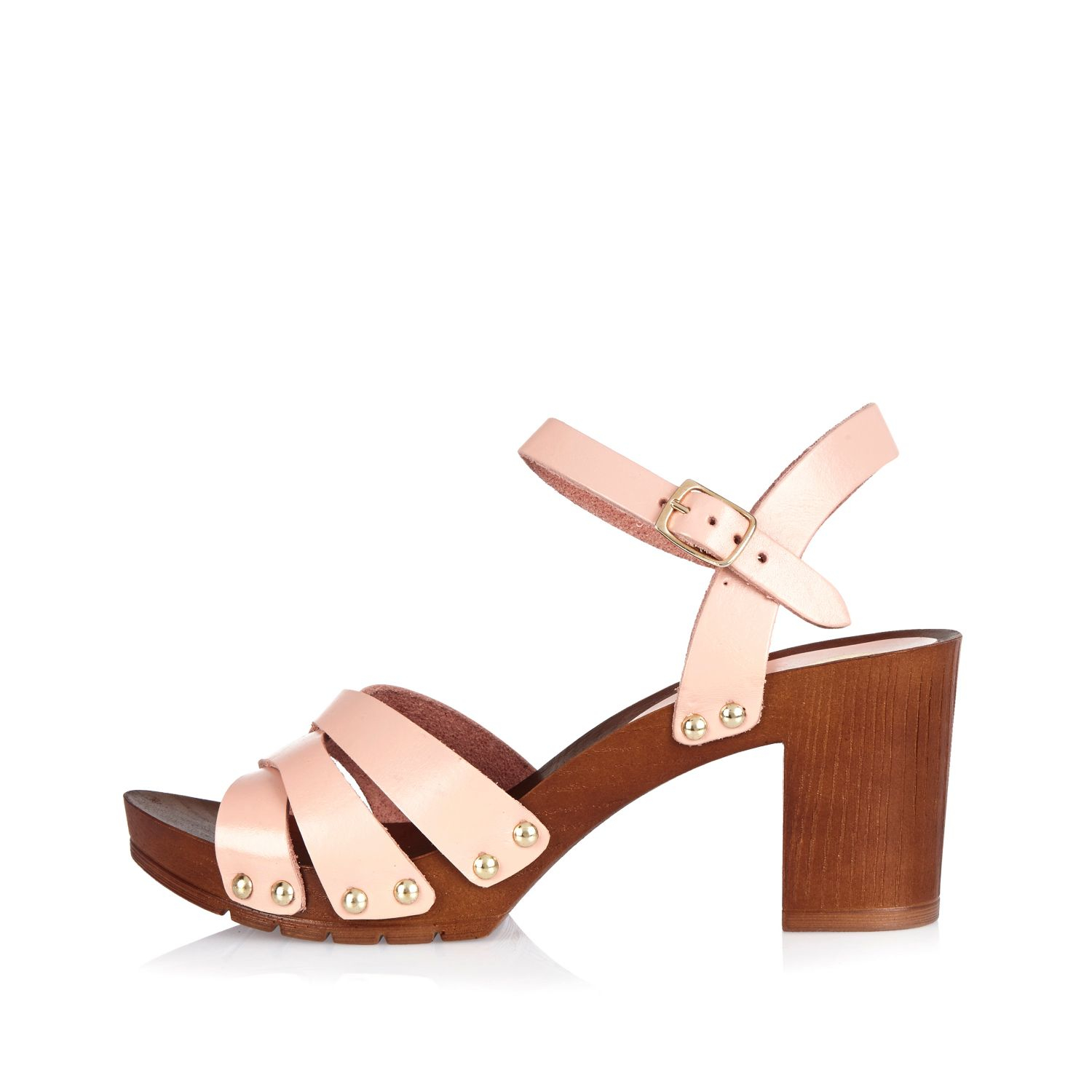 99bed2eba7 River Island Pink Leather Clog Sandals in Pink - Lyst