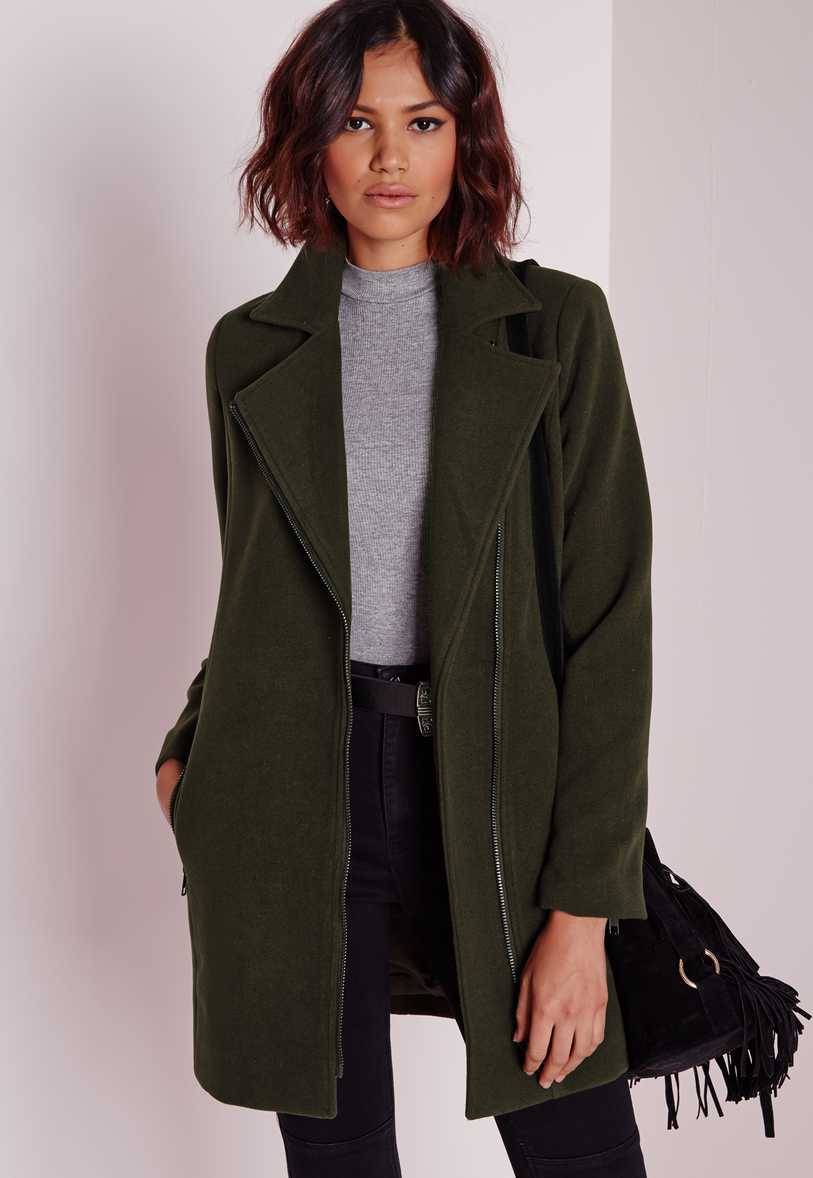 Missguided Petite Faux Wool Biker Coat Khaki in Natural | Lyst