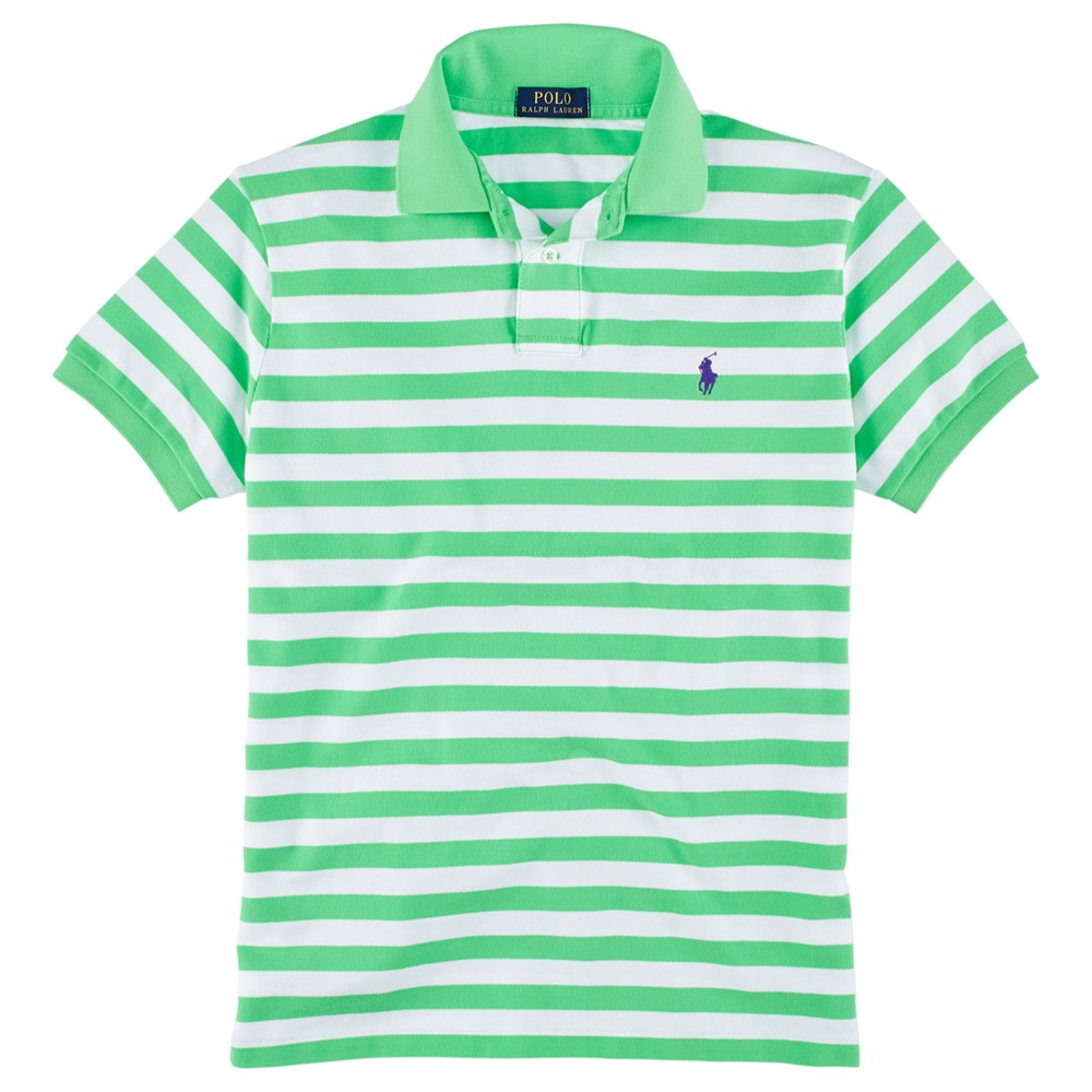 Green And White Striped Polo Shirt
