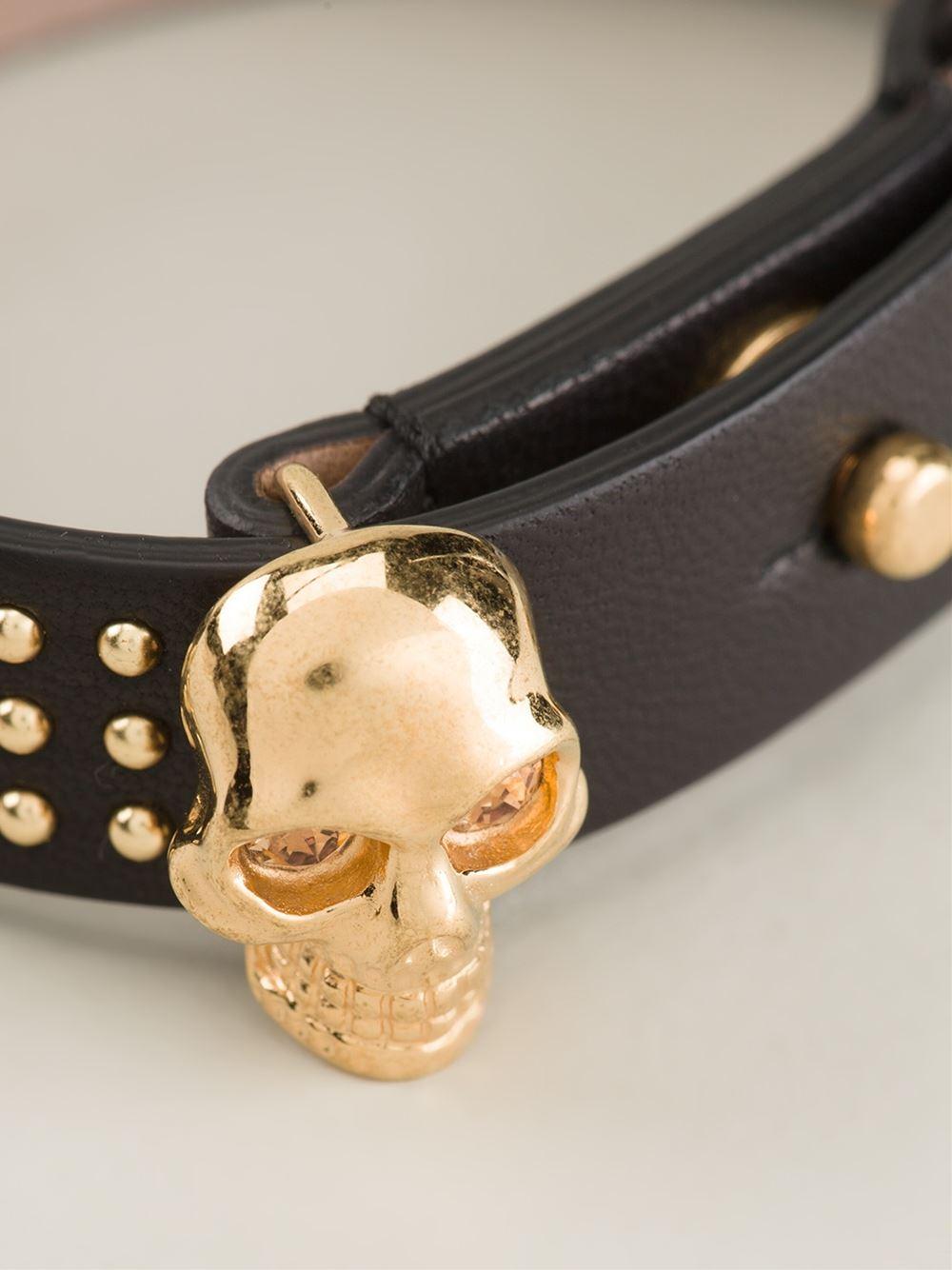 Lyst Alexander Mcqueen Skull Detail Bracelet In Metallic