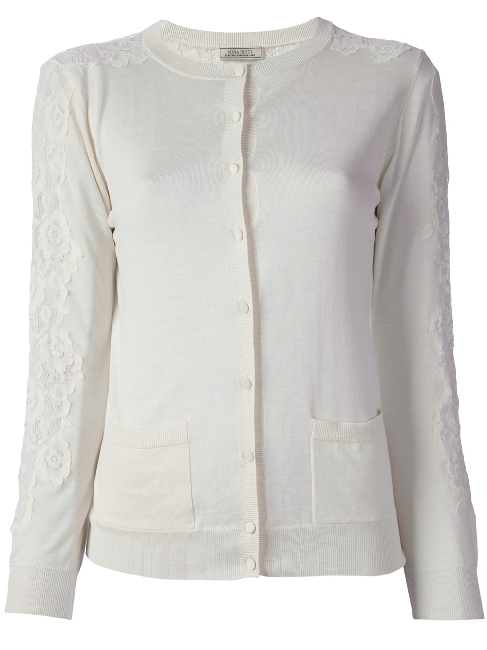 Nina ricci Floral Lace Insert Cardigan in White | Lyst