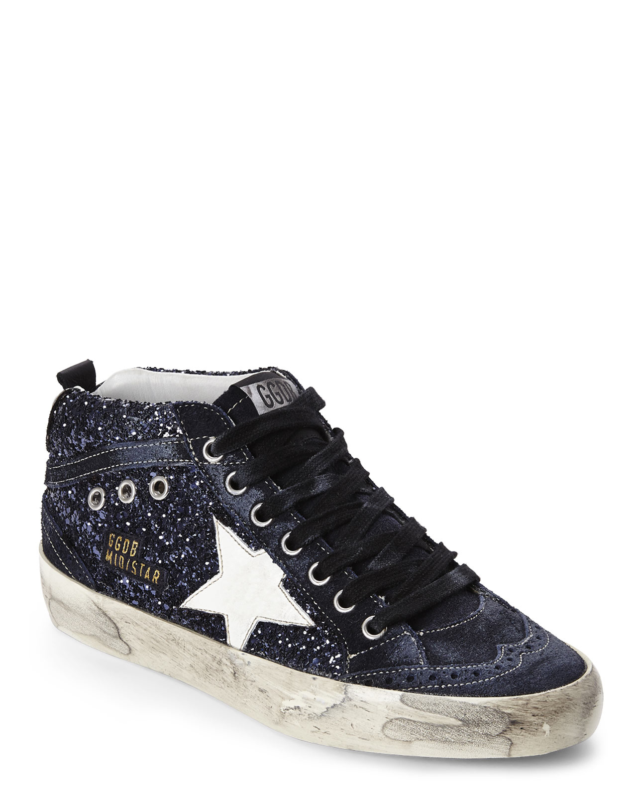 golden goose deluxe brand blue glitter mid star sneakers in blue lyst. Black Bedroom Furniture Sets. Home Design Ideas