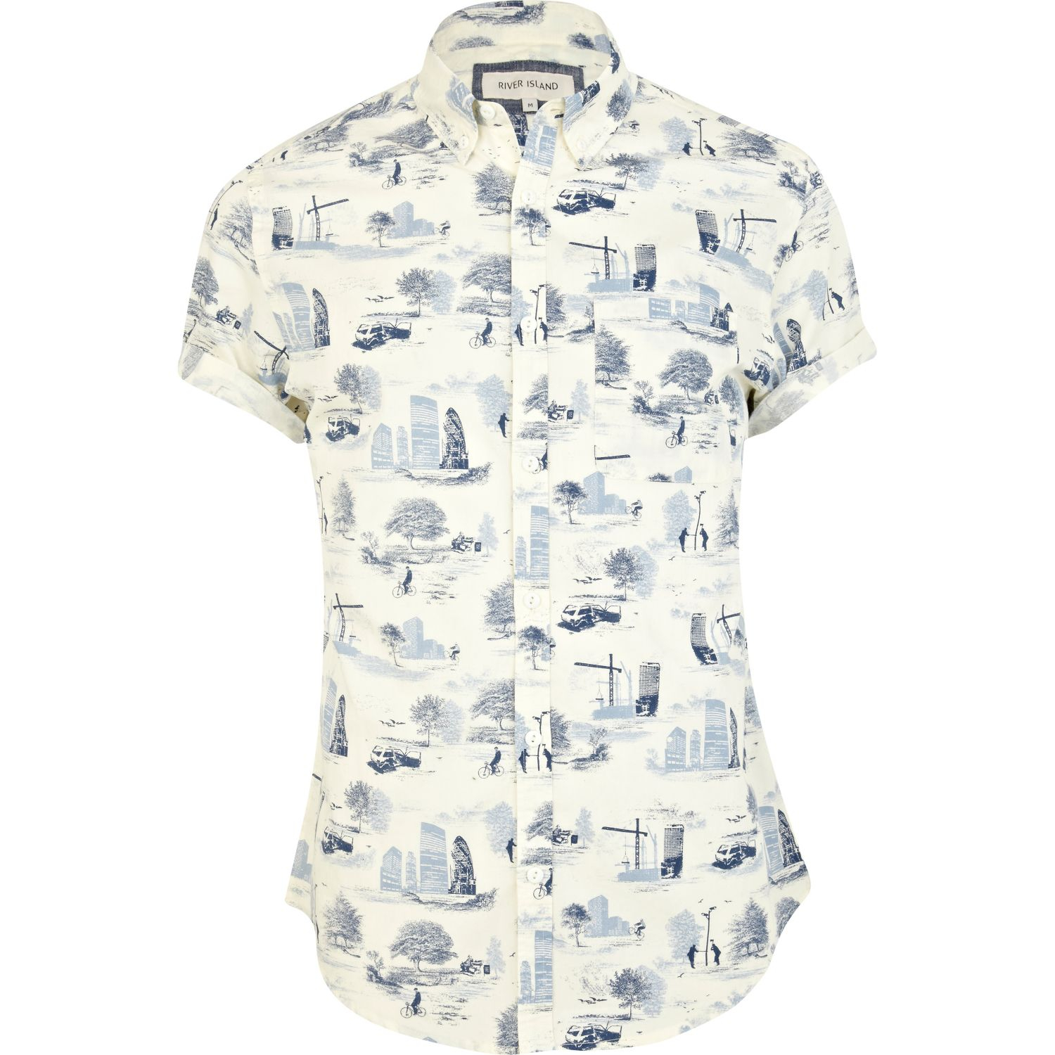 river island ecru urban print short sleeve shirt in blue