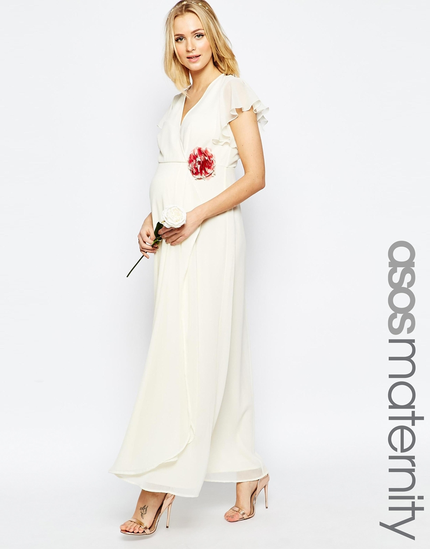 Asos Wedding Wrap Maxi Dress With Corsage Detail - Cream in Natural ...