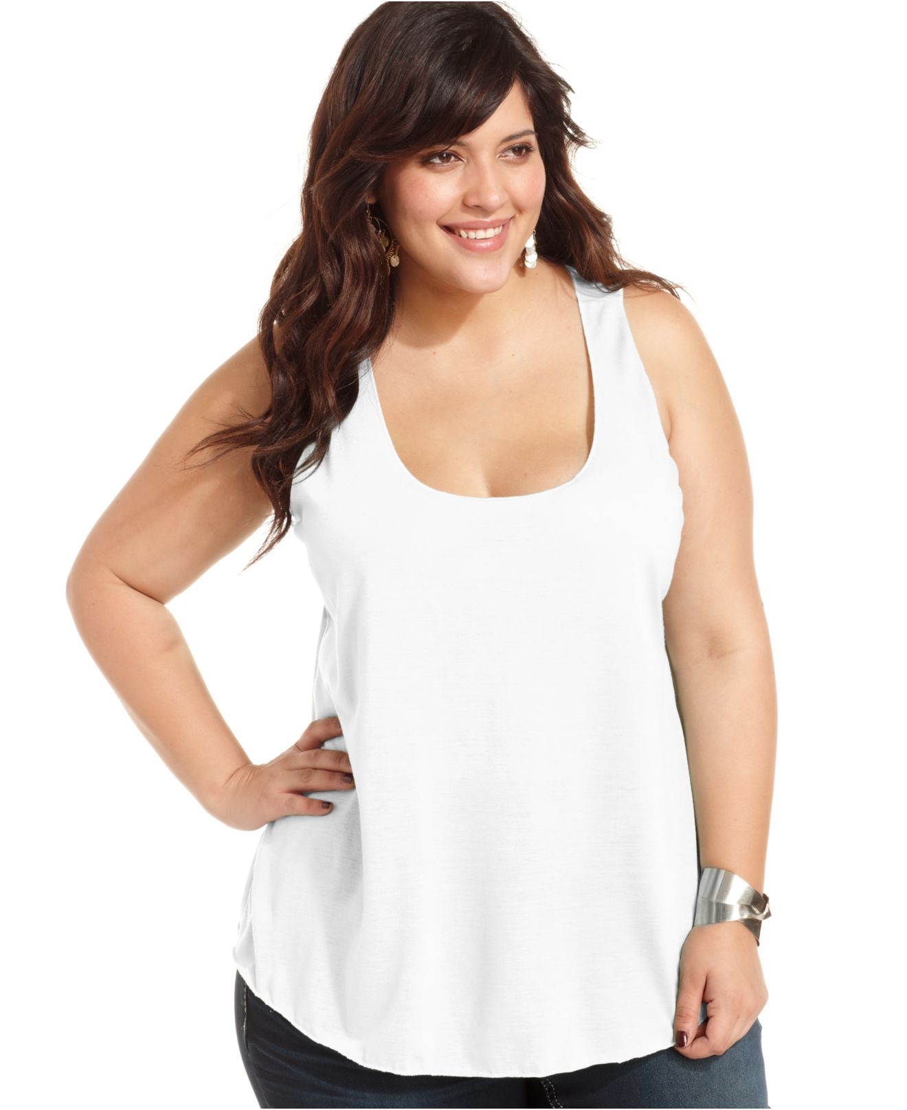 american rag plus size racerback tank top in black | lyst