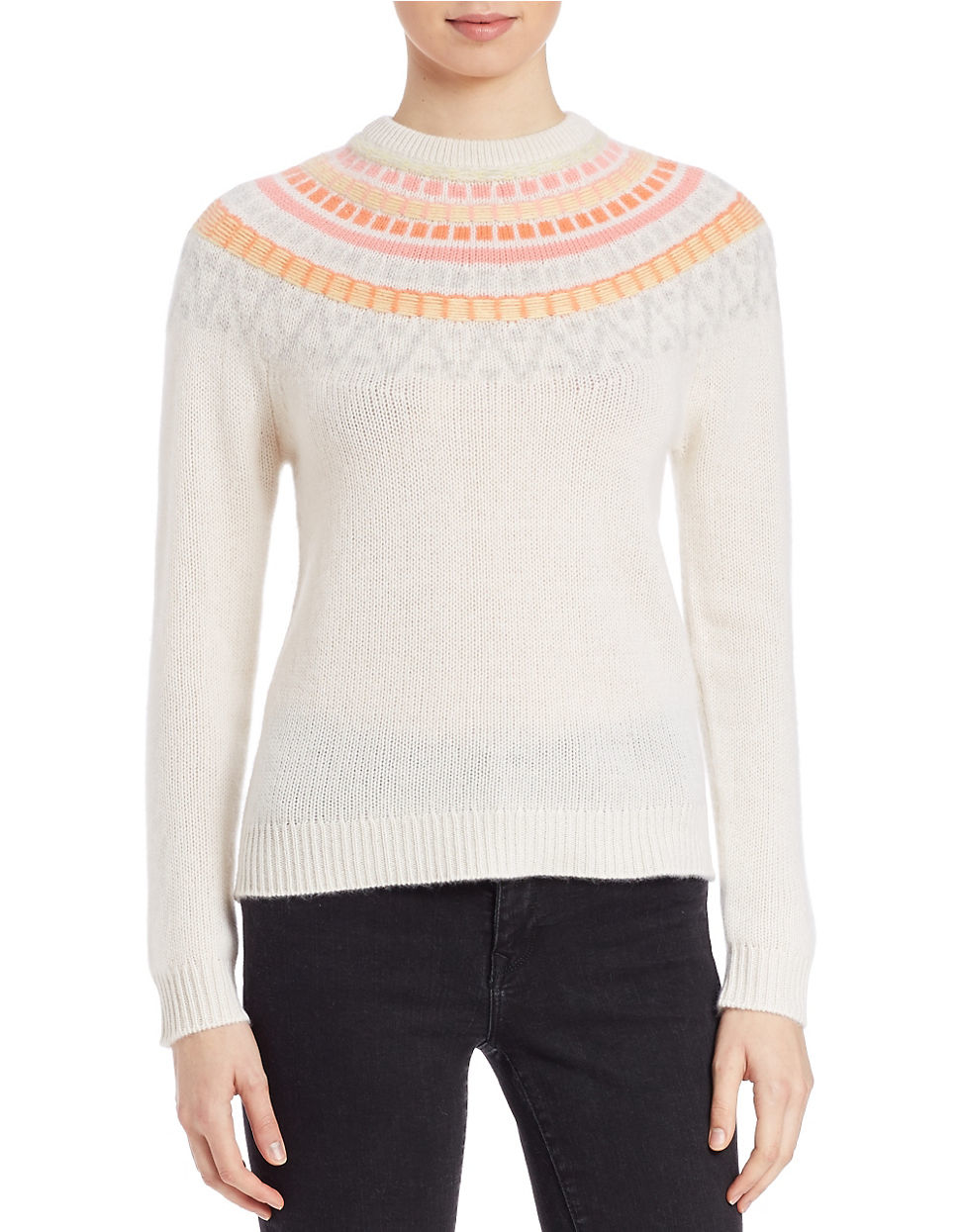 Lord & taylor Patterned Cashmere Sweater | Lyst