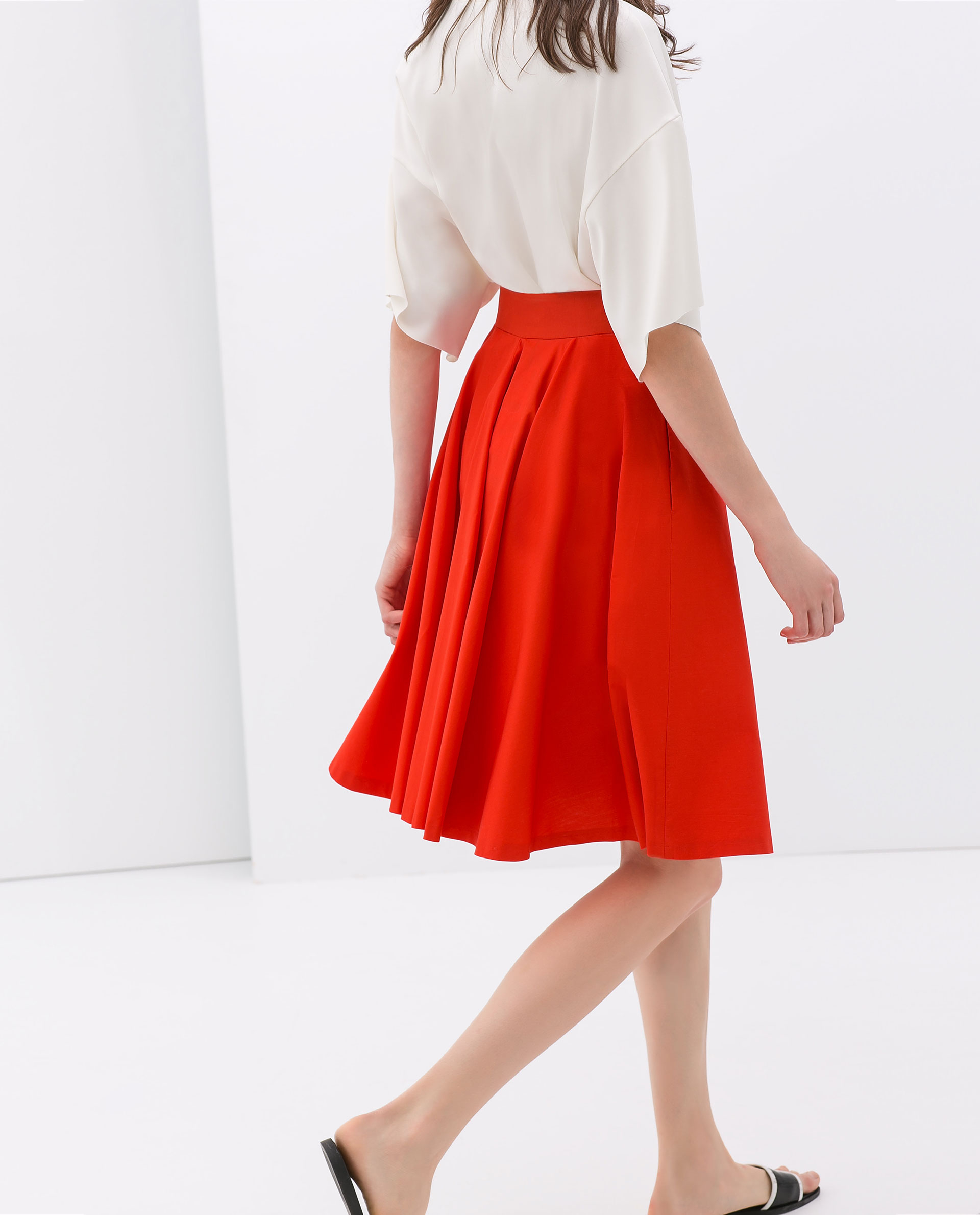 Zara Flared Skirt in Red | Lyst