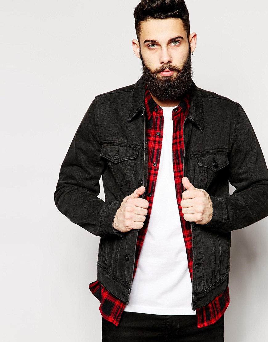 Asos Denim Jacket In Slim Fit in Black for Men | Lyst
