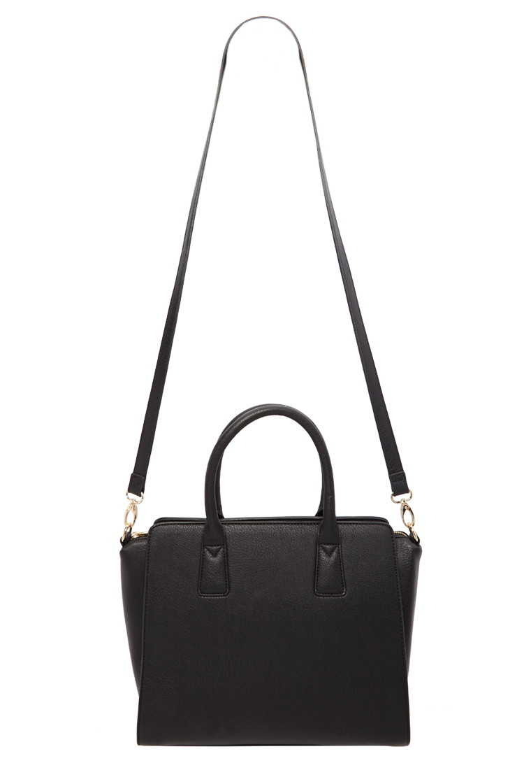 forever 21 handbags lyst forever 21 structured faux leather satchel in black 30621