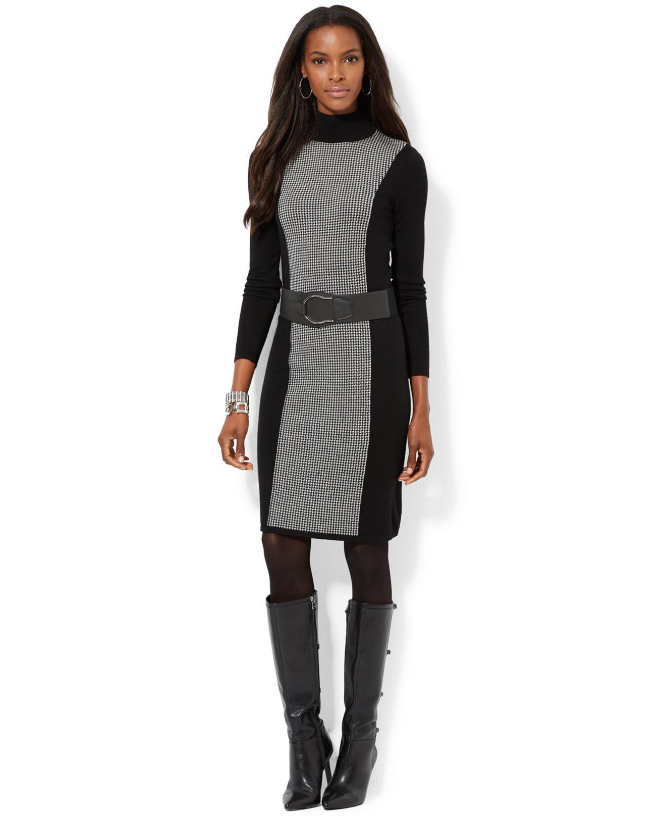 1f738a70083 Lauren by Ralph Lauren Houndstooth Turtleneck Sweater Dress in Black ...