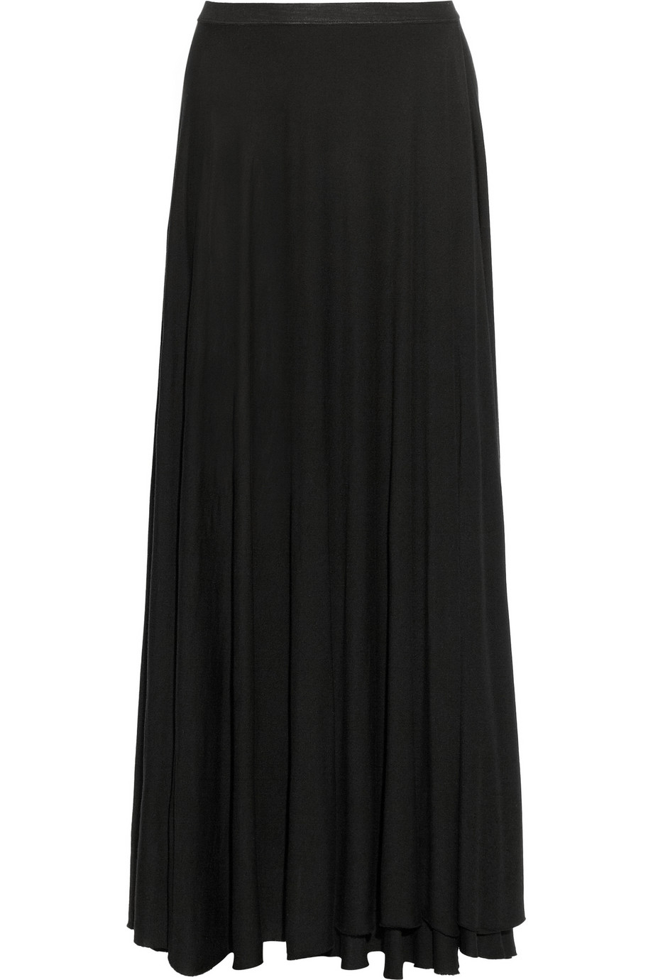 enza costa wrap effect jersey maxi skirt in black lyst