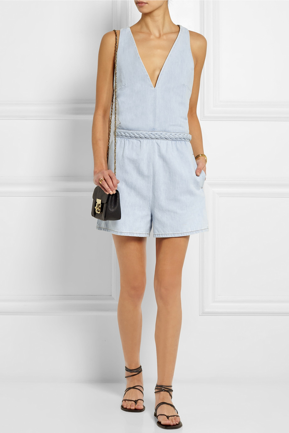 7a5f04aaa8 Valentino Denim Playsuit in Blue - Lyst