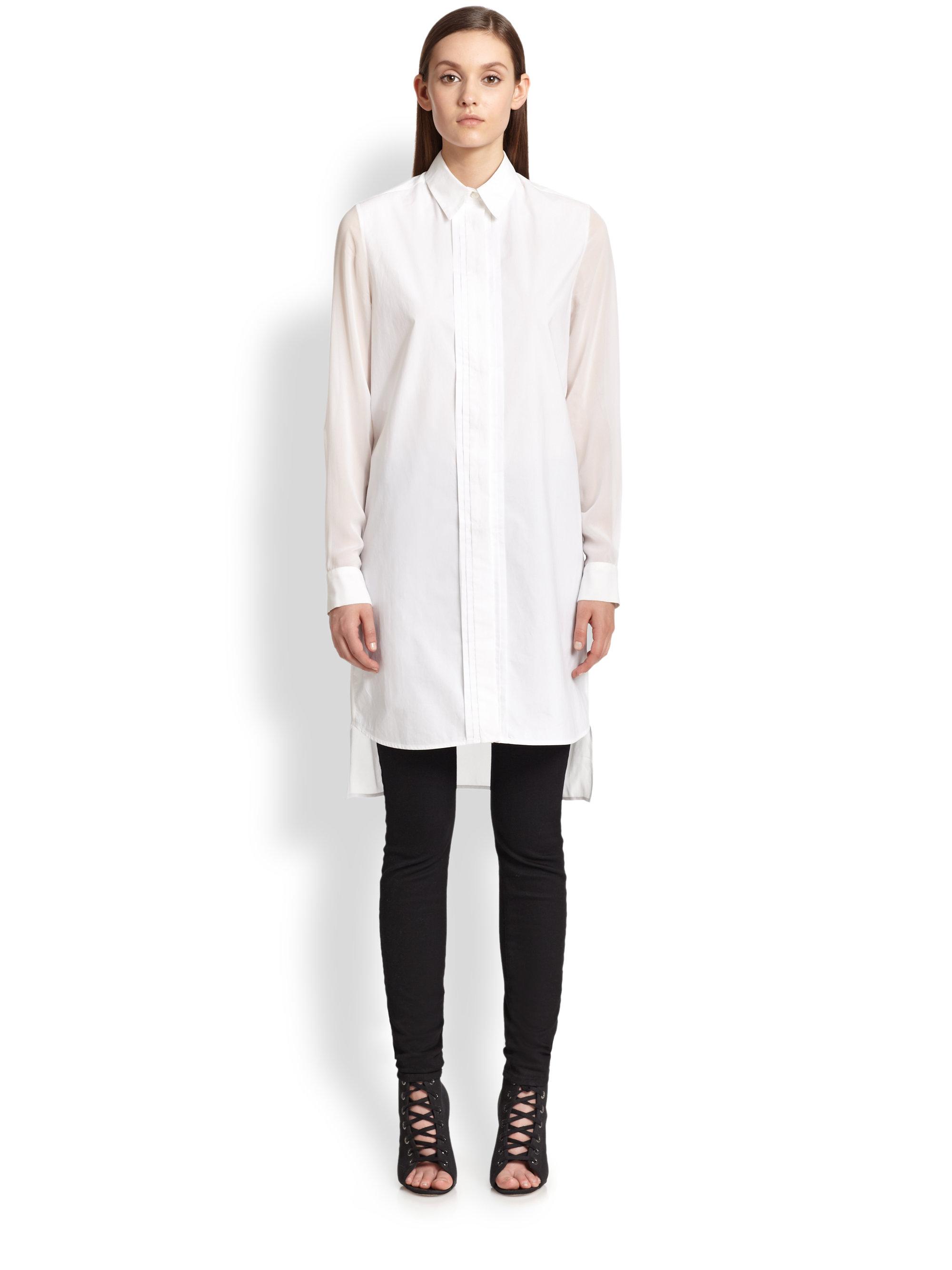 Mcq Cotton & Sheer Silk Chiffon Shirtdress in White   Lyst