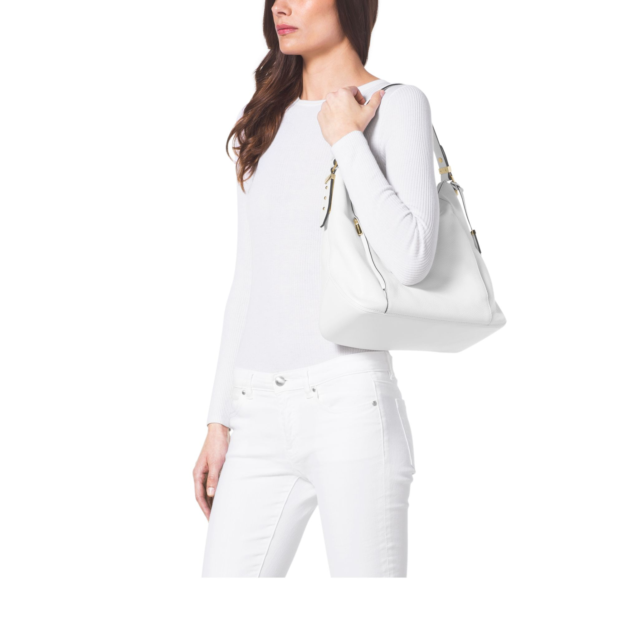 44a494729acc Lyst - Michael Kors Bowery Large Leather Shoulder Bag in White