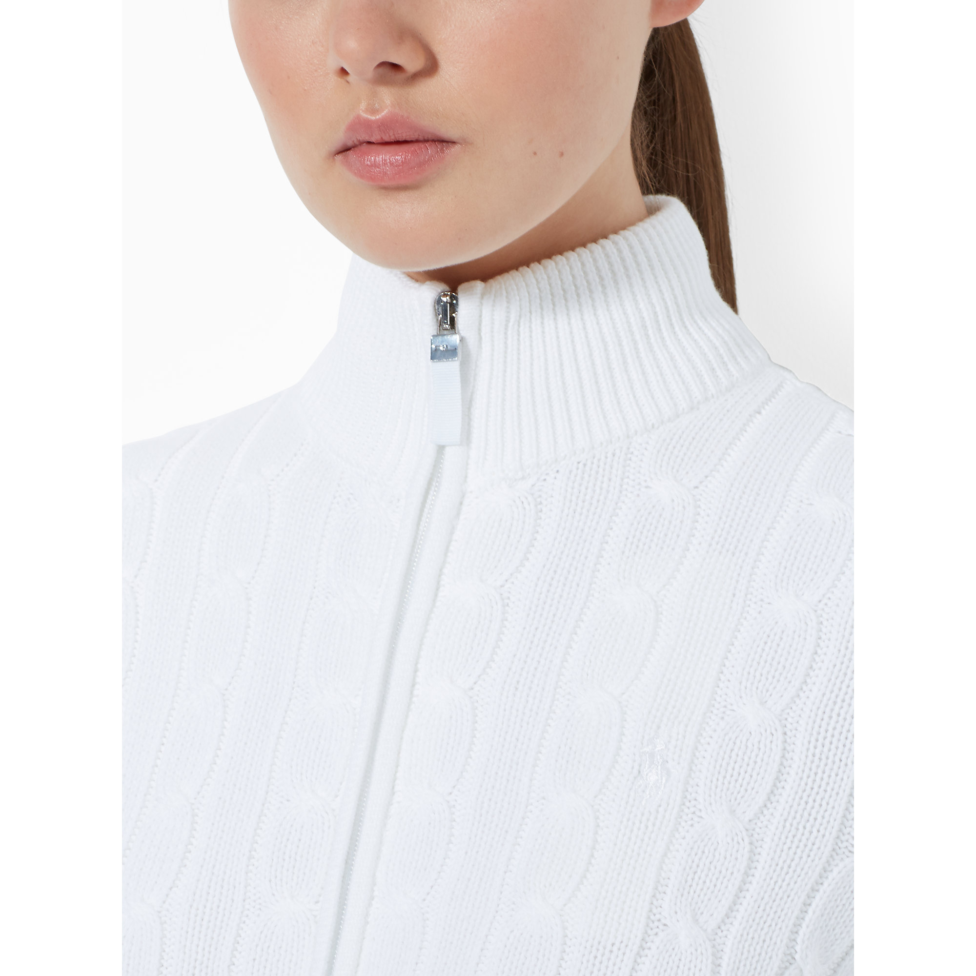 Ralph lauren golf Cable-Knit Zip-Up Sweater in White | Lyst