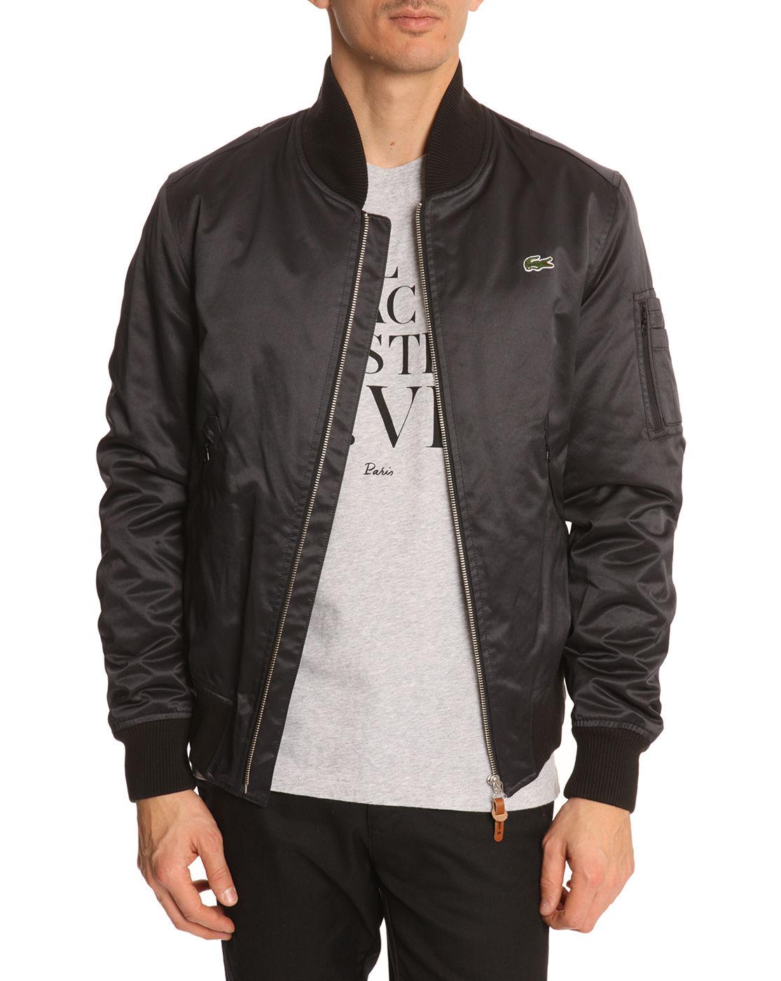 lacoste l ive black nylon zipped jacket in black for men lyst. Black Bedroom Furniture Sets. Home Design Ideas