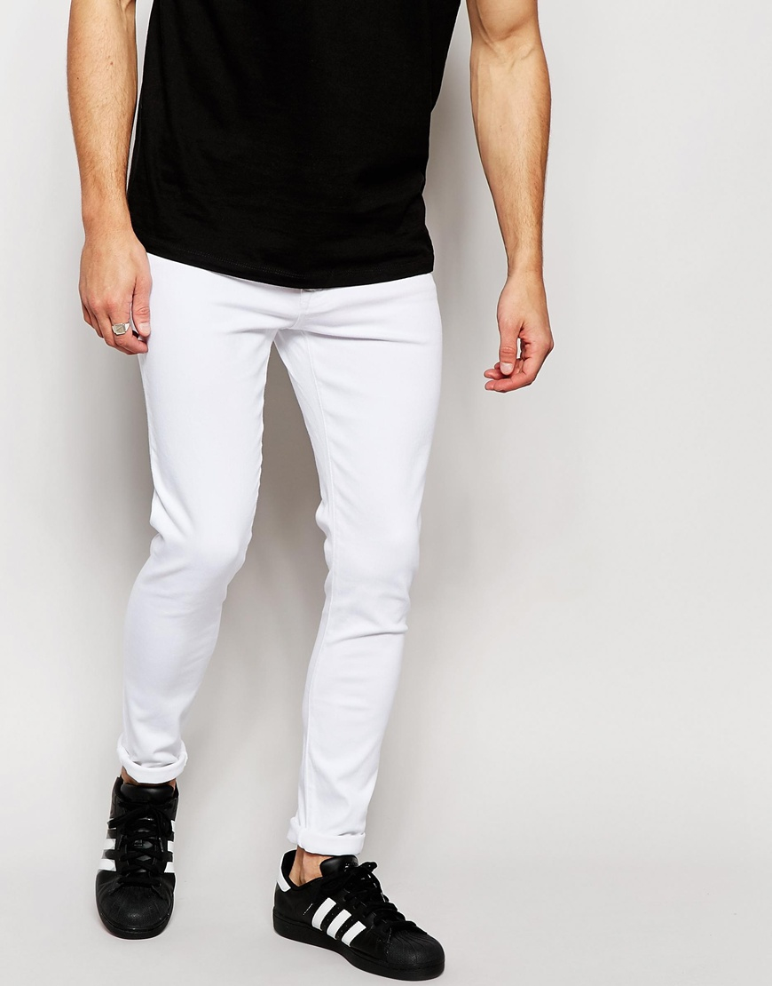 white slim jeans men - Jean Yu Beauty