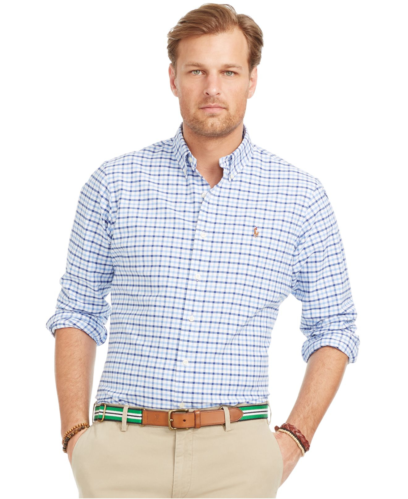 2a9393fae18 Lyst - Polo Ralph Lauren Big And Tall Checked Oxford Shirt in Blue ...