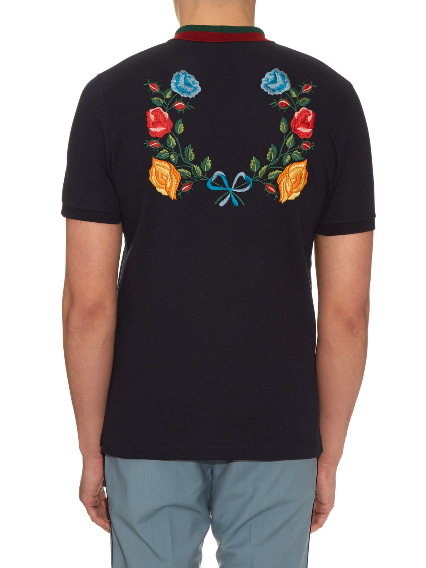 Gucci floral embroidered cotton blend polo shirt in black for Work polo shirts embroidered