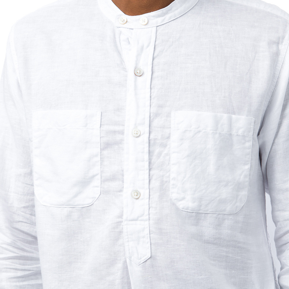 Engineered Garments Banded Collar Long Shirt In White