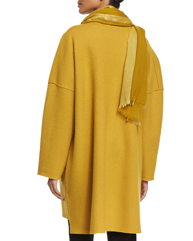 Eileen fisher Boiled Wool Kimono Coat in Yellow   Lyst