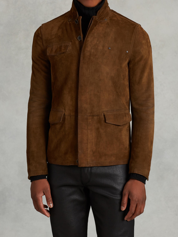 Lyst John Varvatos Suede Jacket With Rivet Detail In Brown For Men