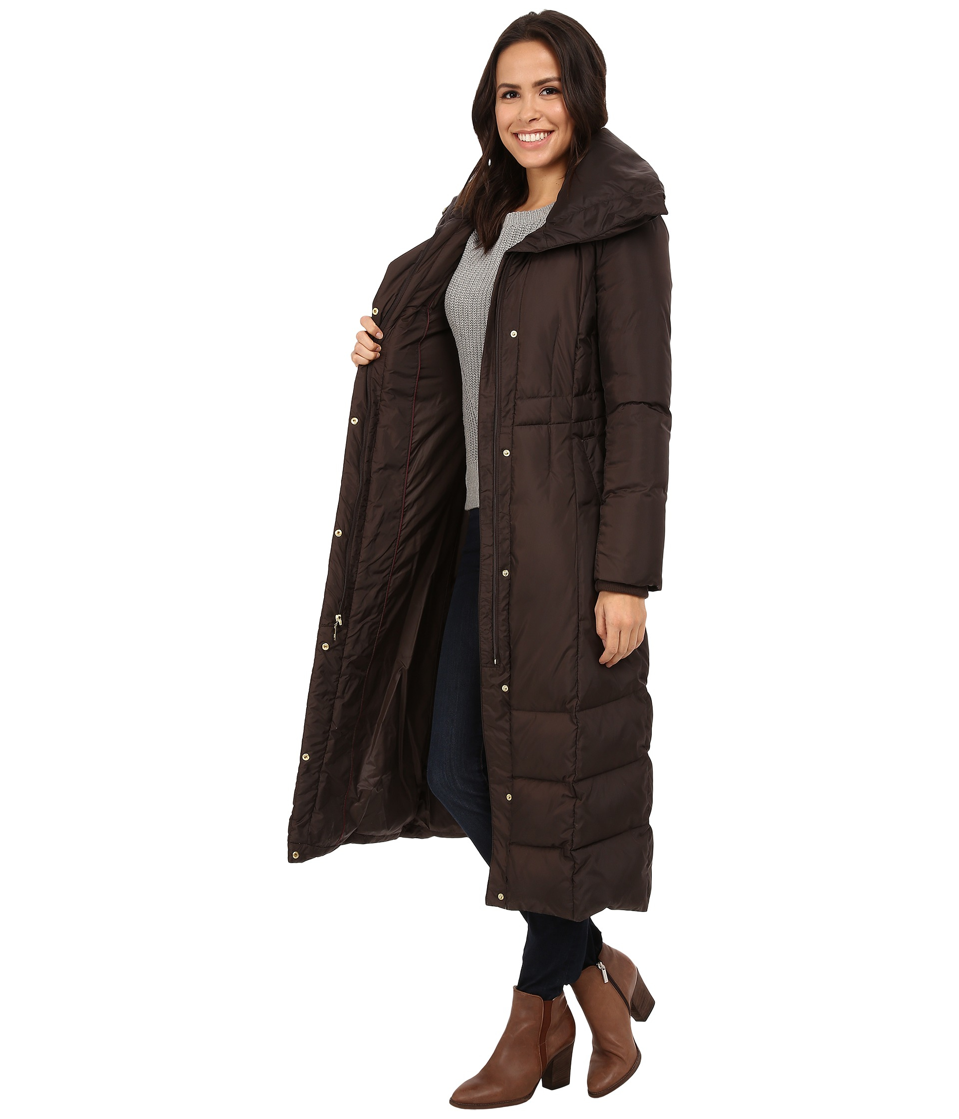 Cole haan Down Coat With Oversized Collar in Brown | Lyst