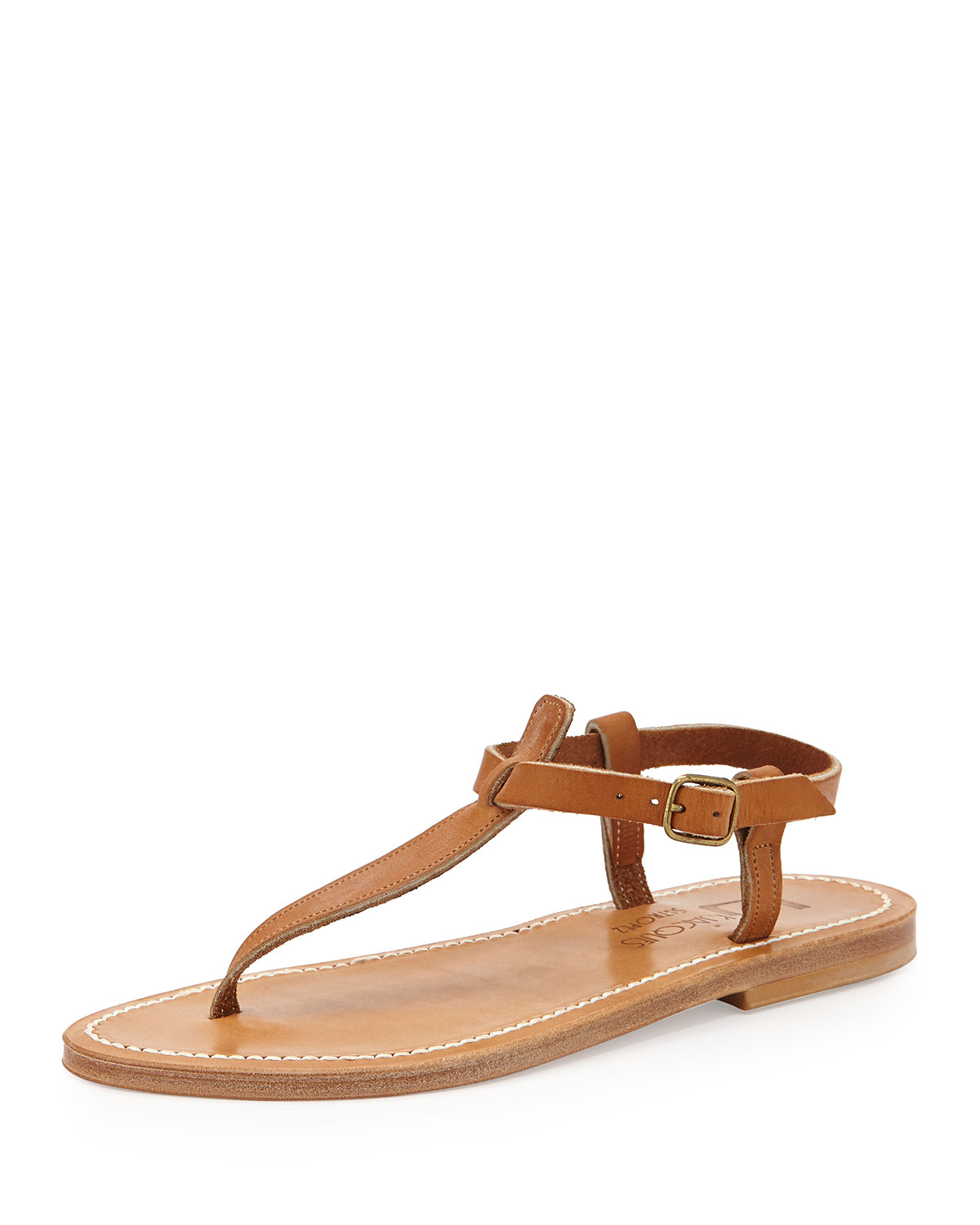 K Jacques Leather T Strap Flat Sandal In Brown Lyst