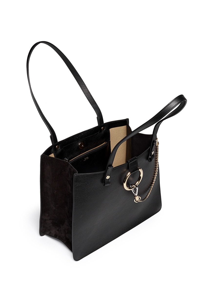 Chloé 'faye' Small Suede Trim Grainy Leather Tote in Black | Lyst