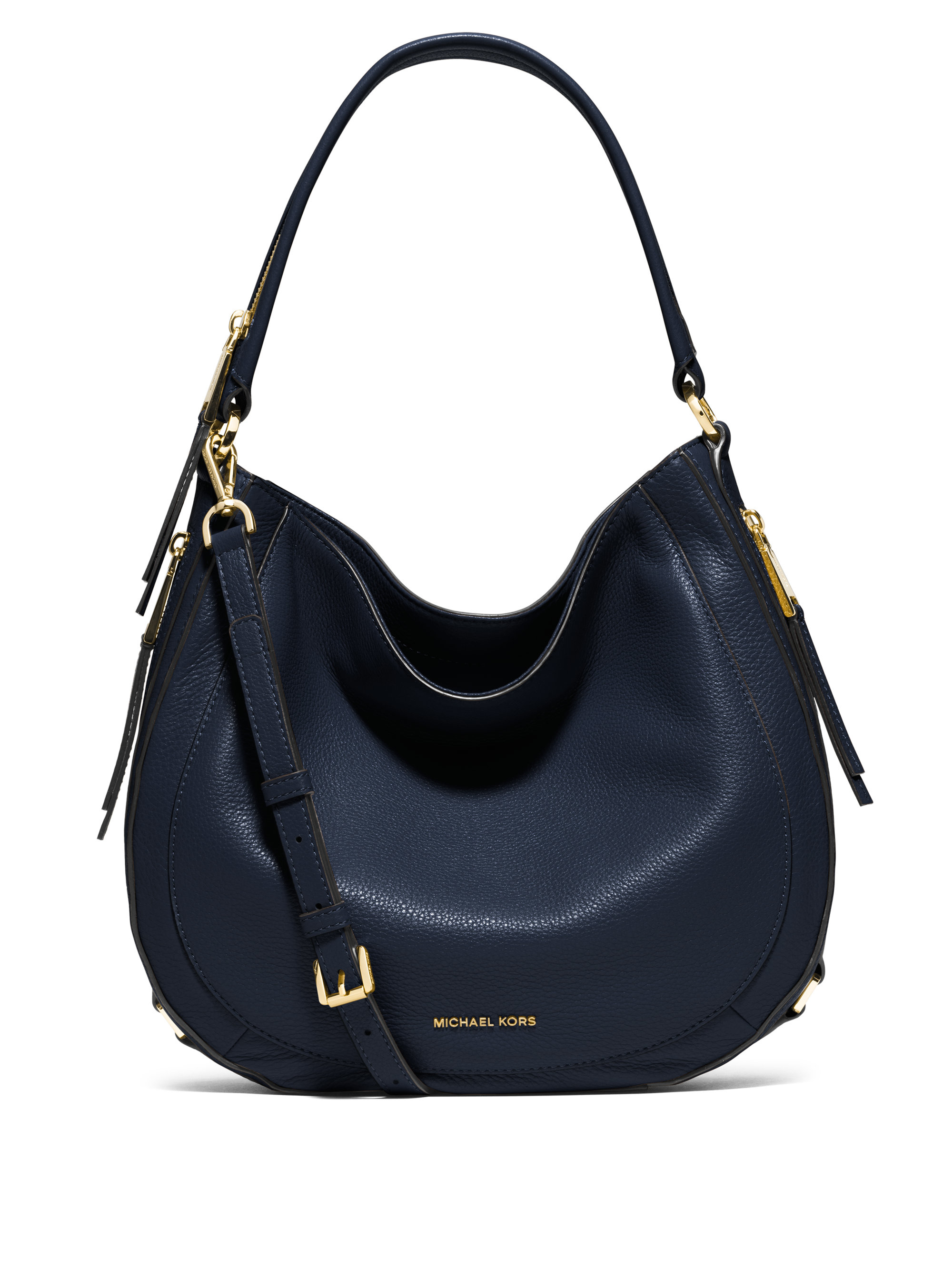 Michael michael kors Julia Medium Leather Hobo Bag in Blue | Lyst
