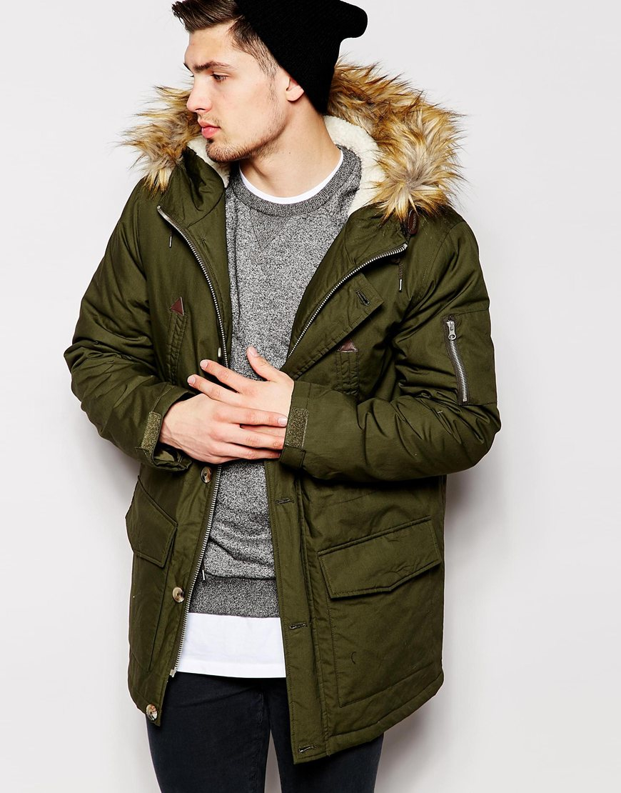 Levi's Men's Cotton Canvas Trucker Jacket with Knit Collar Olive or Khaki See more like this Cotton Coat Thicken Warm Outwear Parka Hooded Fur Collar Jacket New Winter Men's Brand New.