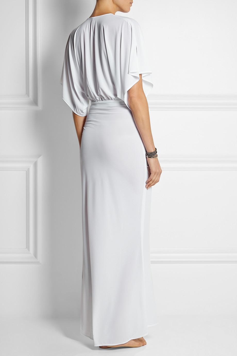 Norma Kamali Obie Stretch Jersey Maxi Dress In White Lyst