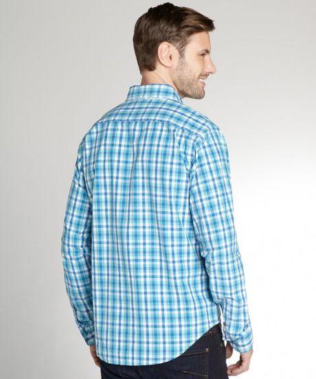 Relwen aqua blue and white gingham button down shirt in for Blue gingham button down shirt