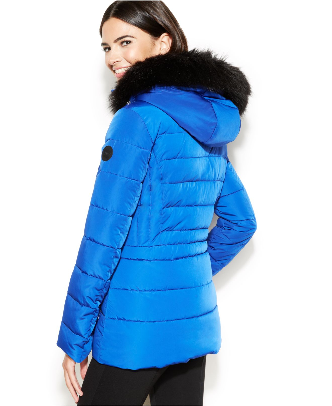 Calvin Klein Hooded Faux Fur Trim Quilted Puffer Coat In