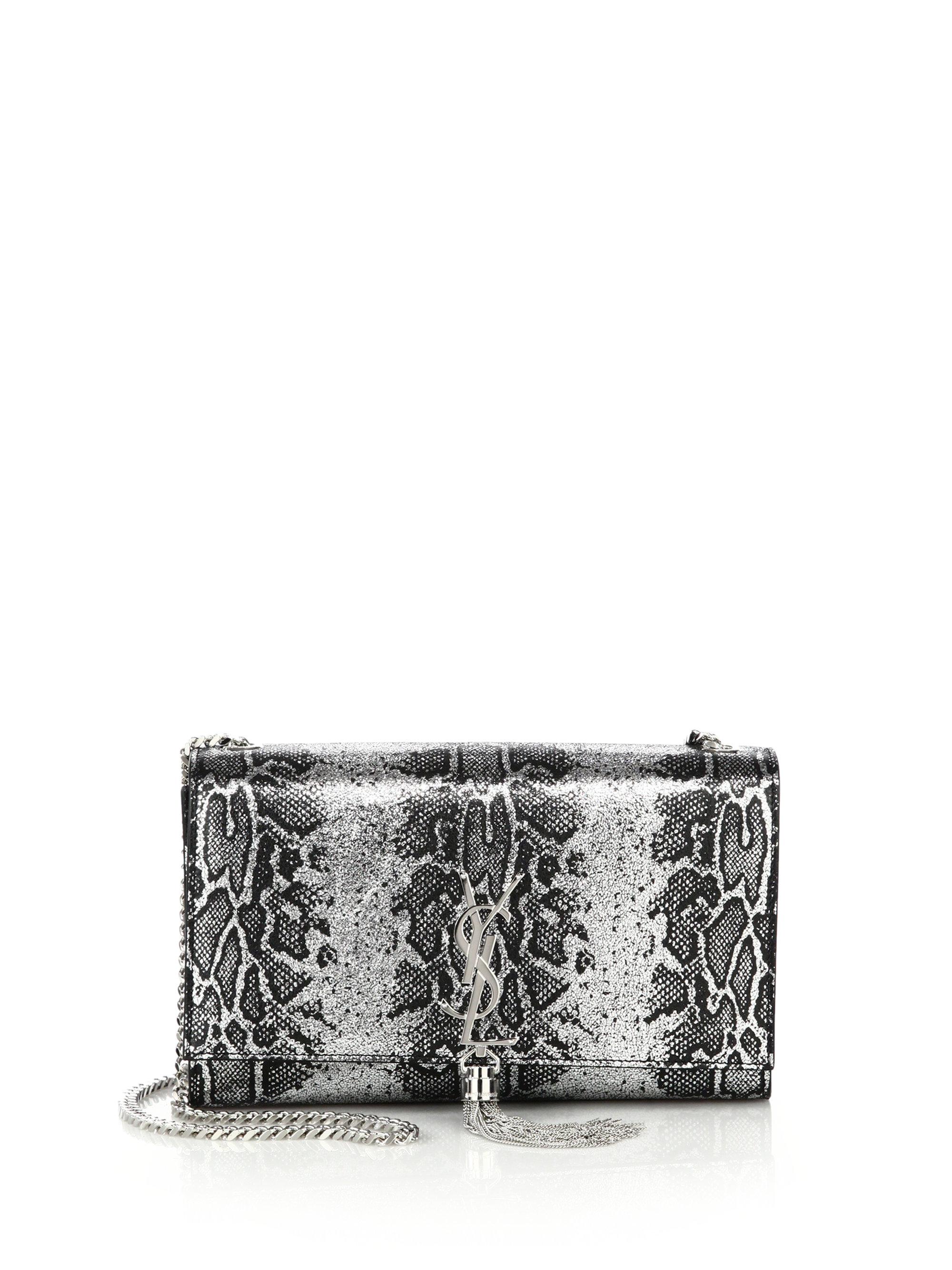 yves st laruent - Saint laurent Monogram Medium Metallic Python-embossed Tassel ...