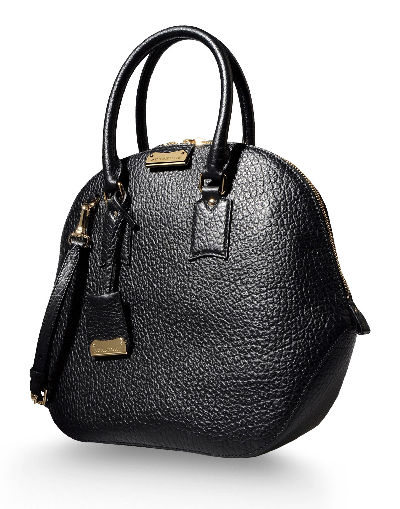 burberry large leather bag in black lyst